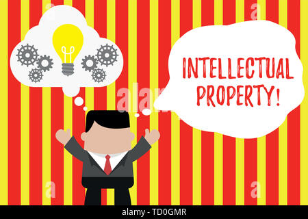Writing note showing Intellectual Property. Business concept for Protect from Unauthorized use Patented work or Idea Man hands up imaginary bubble lig - Stock Image