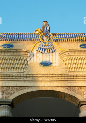 Faravahar symbol on a Fire Temple in Yazd, Iran - Stock Image