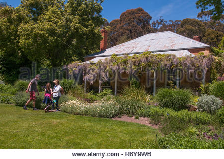 Pioneer homestead at the Garden of St Erth in the small goldfields town of Blackwood, Victoria, Australia - Stock Image