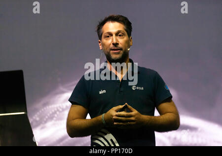Ian Carnelli of the European Space Agency is on a mission to defend Earth from asteroids, on the Cosmos Stage, at New Scientist Live - Stock Image