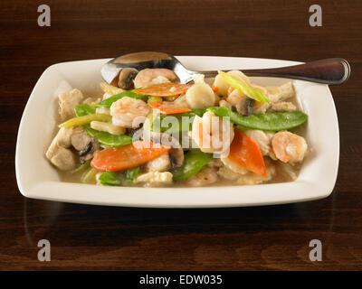 Shrimp Moo Goo Gai Pan - Stock Image