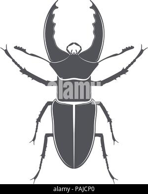 Monochrome emblem of deer beetle. isolated vector illustration - Stock Image