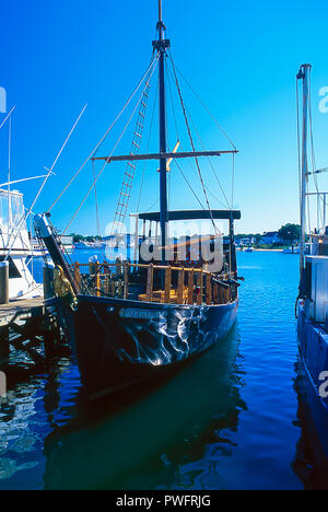 Boats in the harbor at Hyannis, Cape Cod, Massachusetts - Stock Image