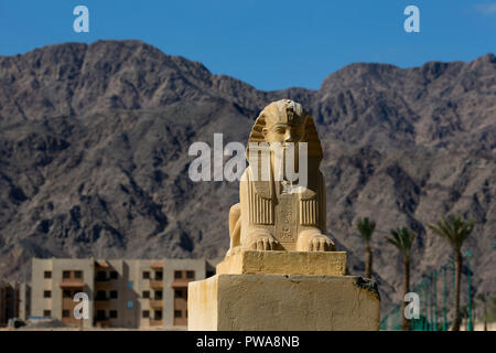 Sphynx Statue in Nuweiba City. South Sinai. Egypt - Stock Image