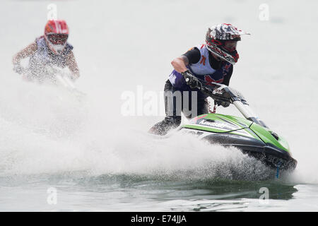 Stokes Bay, Hampshire, UK. 6th Sep, 2014. P1 Superstock final round. Stokes Bay, Gosport, Hampshire. AquaX Ski rider - Stock Image