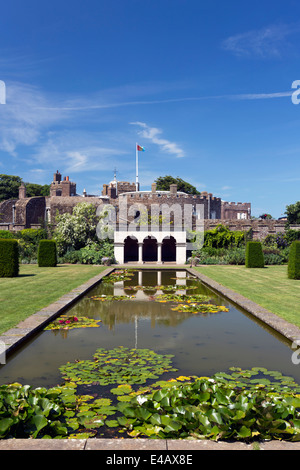 Pond and Rose Garden Walmer Castle Official Residence of the Lord Warden of the Cinque Ports - Stock Image