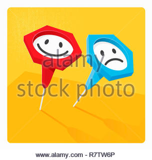 Contrasting indicator push pins with happy and sad smiley faces - Stock Image