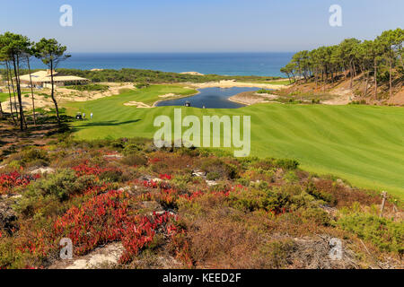 West Cliffs golf course near Obidos in Portugal - view of 18th hole with Atlantic Ocean behind. - Stock Image