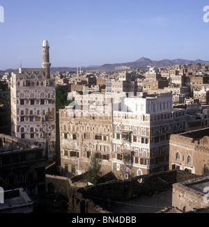 Rooftop panorama Sanaa Yemen - Stock Image