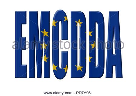 Digital Illustration - EU agency. EMCDDA European Monitoring Centre for Drugs and Drug Addiction, Europäische Beobachtungsstelle für Drogen und Drogen - Stock Image