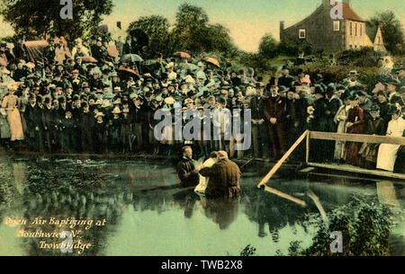 Southwick near Trowbridge, Wiltshire - A well-attended baptism by complete immersion in the open air baptistry. This bapistry was improved and walled in 1937. The chapel continues to thrive, ministering to the people of Southwick.     Date: 1908 - Stock Image