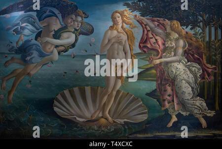Birth of Venus, Sandro Botticelli, circa 1485, Galleria degli Uffizi, Uffizi Gallery, Florence, Tuscany, Italy - Stock Image