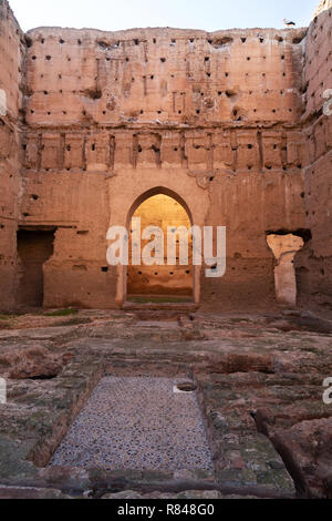 The Audience Pavilion, El Badi Palace marrakech Morocco - ruins of the Badi palace, the Medina, Marrakesh Morocco North Africa - Stock Image
