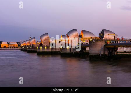 Thames Barrier at night, London, UK - Stock Image
