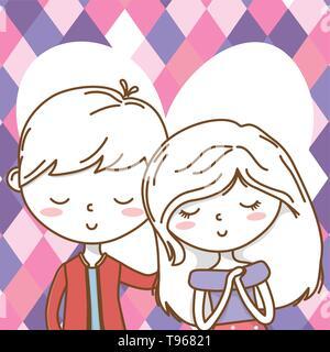 Romantic love couple cute stylish outfit jacket dress portrait heart background vector illustration graphic design - Stock Image