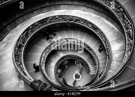 Momo Staircase The Vatican Museum Rome Scanned from Black and White Film - Stock Image