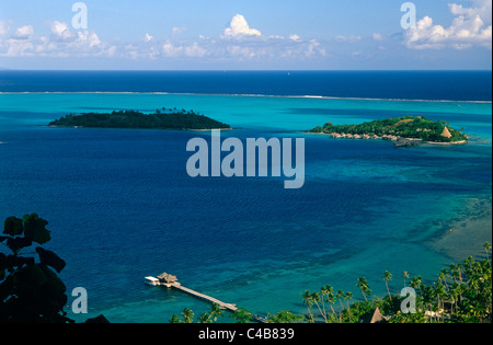 French Polynesia, Society Islands, Leeward Islands, Bora Bora (aka Pora Pora). View from a belvedere, or lookout, - Stock Image