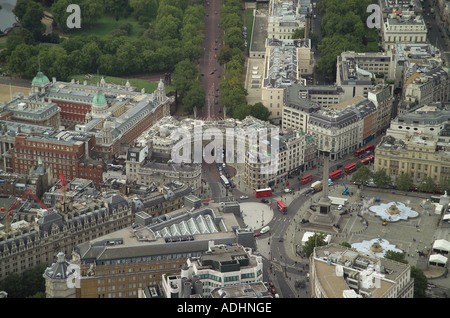 Aerial view of Admiralty Arch and Nelson's Column in Trafalgar Square in London. Also featuring the First Sea Lord's Residence - Stock Image
