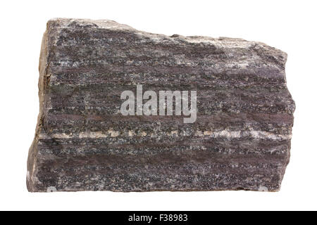 Banded iron formation (BIF). Algoma-type BIF from the Archaean. Dark is magnetite, white is quartz. - Stock Image
