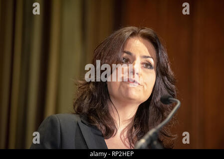 London, United Kingdom. 20 February 2019. 'The Independent Group' hold a press conference with MP's Anna Soubry, Sarah Wollaston and Heidi Allen who have resigned from the Conservative Party to join the breakaway political party. Credit: Peter Manning/Alamy Live News - Stock Image