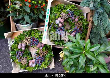 Christmas wreaths with blue berries on plant with red stems and nuts for sale on a garden stall at Borough Market in London England UK  KATHY DEWITT - Stock Image