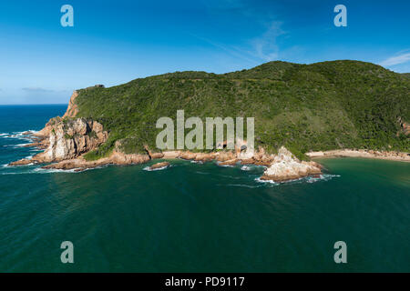View of one side of 'The Heads', the entrance to the Knysna Lagoon on the Garden Route in South Africa. - Stock Image