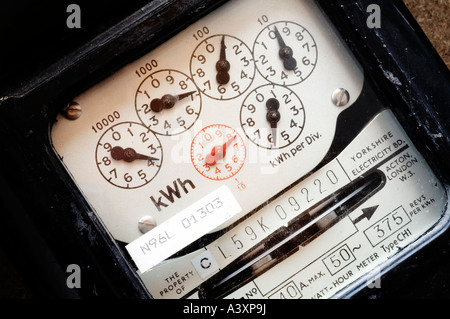Dials on electric meter - Stock Image