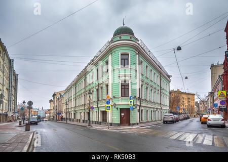 Mansion of merchant Buloshnikov - historic building located on Bolshaya Nikitskaya Street, Moscow, Russia - Stock Image