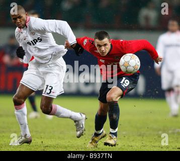 Russia s CSKA soccer team met the Netherlands PSV Eindhoven in Moscow for the 5th round of the Champions League - Stock Image