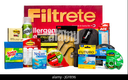 Collection of products made by various 3M brands including: Post-it, Scotch-Brite, Scotchgard, Peltor, Filtrete, - Stock Image