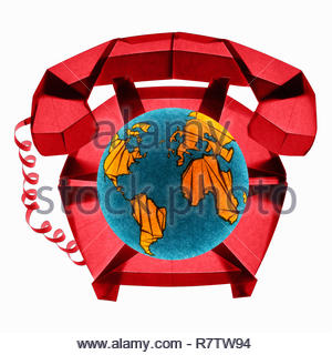 Folded paper telephone with globe dial - Stock Image