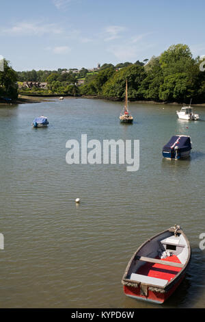The Picturesque Kingsbridge Estuary, with its Moored Boats, Kingsbridge, Devon, England, UK - Stock Image
