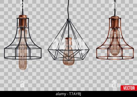 Decorative edison light bulb in Retro design copper wire lampshade. Original Vintage design. Vector Illustration isolated on transparent background - Stock Image