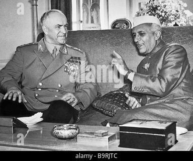 Georgy Zhukov and Jawaharlal Nehru - Stock Image