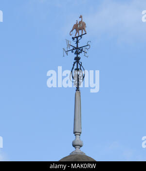 Elephant weather vane on the former Indian Institute Building on the corner of Castle Street and Holywell Street. Oxford, Oxfordshire, - Stock Image