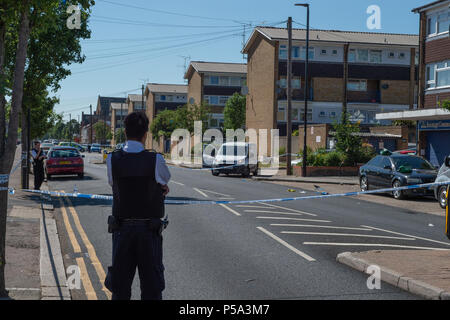 London, United Kingdom. 26 June 2018. A stabbing has occurred in Bounces Road, Edmonton. Credit: Peter Manning/Alamy Live News - Stock Image