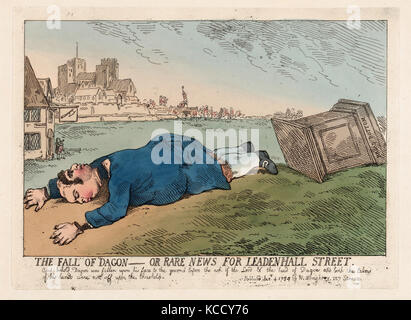 The Fall of Dagon, rare news for leadenhall street. Historical British caricature - Stock Image