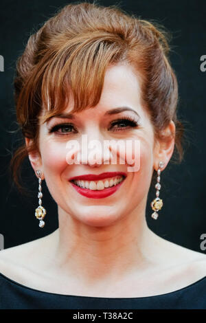 London, UK. 7th Apr 2019. Catherine Parkinson poses on the red carpet at the Olivier Awards on Sunday 7 April 2019 at Royal Albert Hall, London. Picture by Credit: Julie Edwards/Alamy Live News - Stock Image
