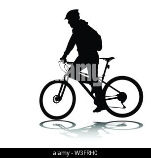 man riding bicycle silhouette - vector - Stock Image