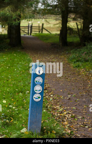 Walking and cycling trail guide post at Llyn Brenig reservoir in the Denbigh moors it is a popular area for cycling fishing and hiking - Stock Image