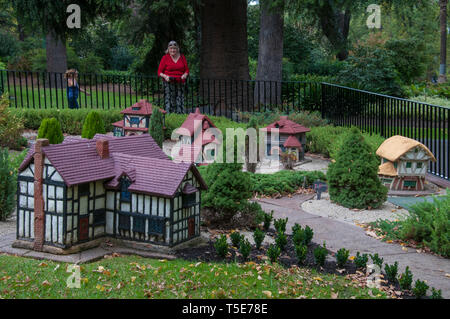 Model Tudor village in Fitzroy Gardens, East Melbourne, Australia - Stock Image