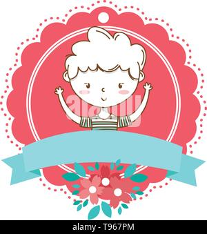 Stylish boy blushing cartoon outfit stripped tshirt hands up portrait  floral bloom frame ribbon banner vector illustration graphic design - Stock Image