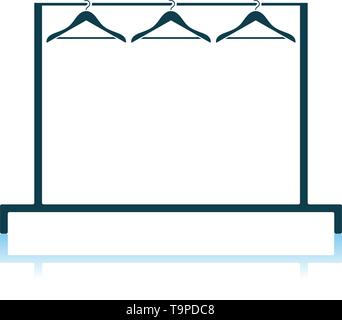 Clothing Rail With Hangers Icon. Shadow Reflection Design. Vector Illustration. - Stock Image