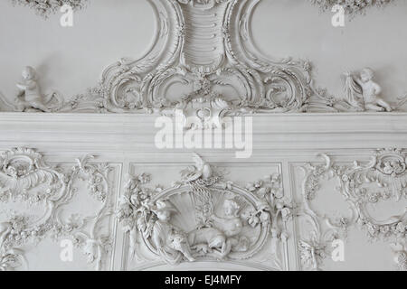 Rococo stucco decoration by German sculptor Johann Michael Graff in the White Hall of the Rundale Palace, Latvia. - Stock Image