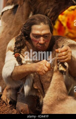 Neanderthal Museum, Figures - Stock Image
