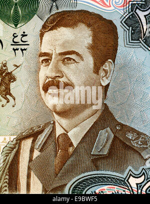 Saddam Hussein (1937-2006) on 25 Dinars 1986 Banknote from Iraq. Fifth President of Iraq during 1979-2003. - Stock Image