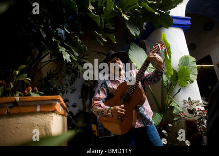 Pablo Barba performs for tourists in the Emiliano's restaurant in Tlayacapan, Mexico, February 5, 2008. Photo/Chico - Stock Image