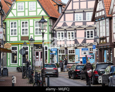 Historical center of Celle, half-timbered houses in street 'Am Heiligem Kreuz', Celle, Lower Saxony, Germany - Stock Image