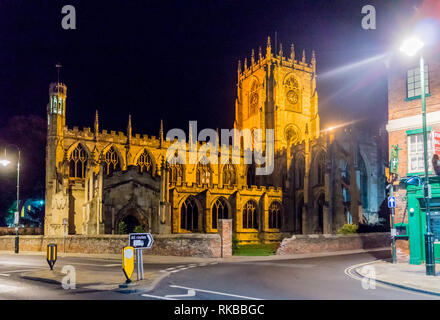 St. Mary's church, at night, North Bar Within, Beverley, East Riding, Yorkshire, England - Stock Image