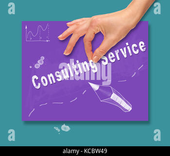 A hand picking up a Consulting Service concept on a colorful drawing board. - Stock Image